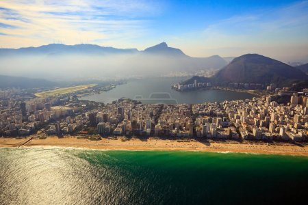 Aerial view of famous Copacabana Beach and Ipanema...
