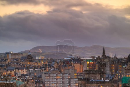 Photo for Old town Edinburgh and Edinburgh castle at night, Scotland UK - Royalty Free Image