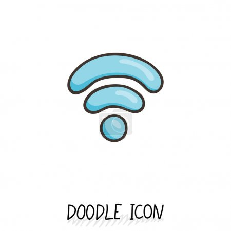 Doodle wifi icon. Vector internet and connection s...