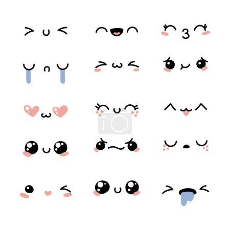 Illustration for Set of cute lovely kawaii emoticon. Doodle cartoon face in childlike manga cartoon style. - Royalty Free Image