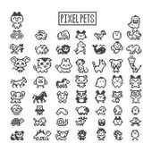 Collection of pixel animals like vintage personal game