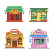 Nice showcases of shops. Bakery, candy store, chin...