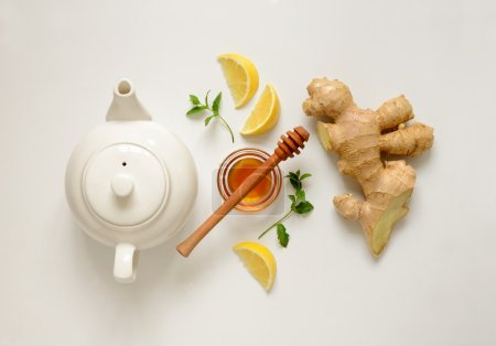 Photo for Ginger tea ingredients concept, healthy comforting and heating tea under simple recipe, view from above - Royalty Free Image