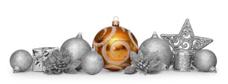 Photo for Group of christmas balls isolated on white background - Royalty Free Image