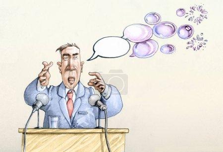 Photo pour Conférence de personnalités politiques, les bandes dessinées de l'orateur sont transformés en bulles de savon - image libre de droit