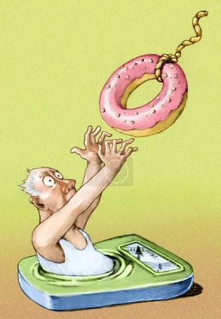 Man sank into the balance, he pulls a donut-shaped...