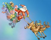 Santa Claus dragged in purchases