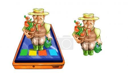 Photo pour D'une tablette sort un homme de style BD habillé comme - image libre de droit