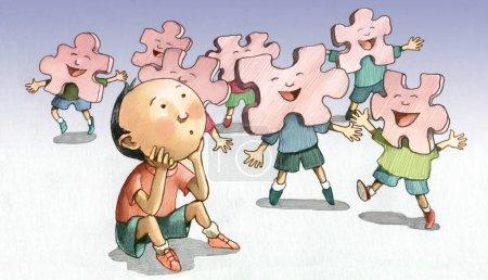 Photo pour Enfant seul pendant que ses compagnons sont loin ensemble comme les pièces d'un puzzle - image libre de droit