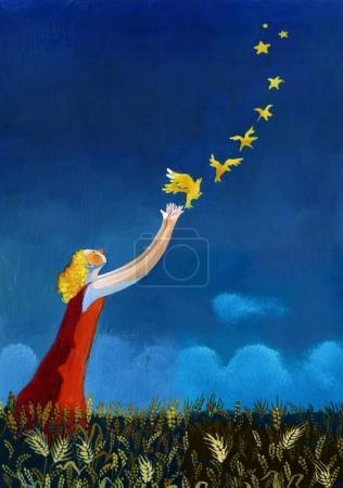 Photo pour Fille surréaliste créer des étoiles lancer des canaris volants - image libre de droit