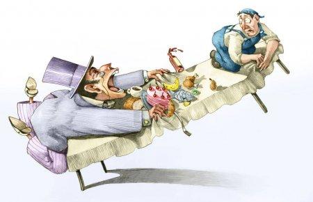 Photo pour Capitaliste, vorace, avide, ouvrier, profit, économie, exploitation, contrat, force, pouvoir, riche, pauvre, industrie, entreprise , - image libre de droit