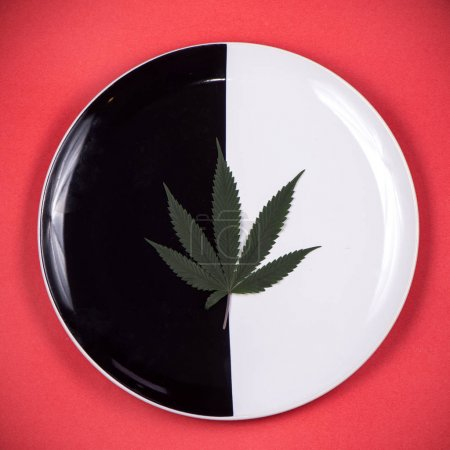 Cannabis leaf on a dish - medical marijuana infused edibles conc