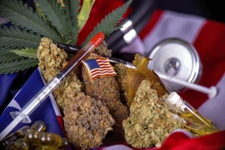 Cannabis buds, leaves and american flag assortment - veteran med