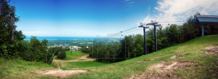 Paroramic view above Blue Mountain Ski Resort with a chairlift i
