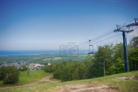 View above Blue Mountain Ski Resort with a chairlift in Collingw