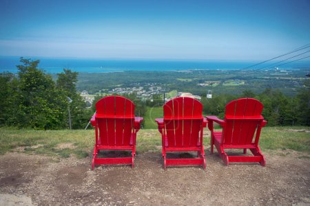 Muskoka chairs at Blue Mountain resort and village in Collingwoo