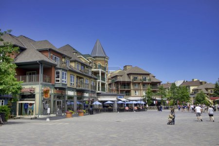 COLLINGWOOD, ON, CANADA - JULY 20, 2017: View of lodging and sho