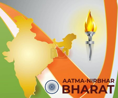 """Illustration for VECTOR ILLUSTRATION SHOWS THE TEXT AATMA NIRBHAR BHARAT MEANS """"SELF DEPENDENT INDIA"""" HAVING THE INDIAN MAP AND THE FLAG COLOURS IN THE BACKGROUNG ALONG WITH THE FIRE LIGHT SHOWING THE CONSISTENCY TO FOLLOW THE SLOGAN. - Royalty Free Image"""
