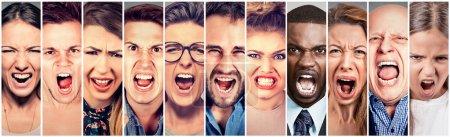 Gens en colère criant. Groupe de femmes d'hommes frustrées criant