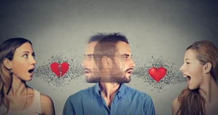 Photo for New relationship concept. Love triangle. Young man falls in love with another woman - Royalty Free Image