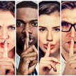 Group of people men women with finger on lips gest...