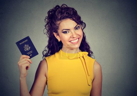 excited woman with USA passport