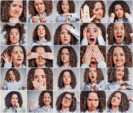 Collage of a woman expressing different emotions and feelings