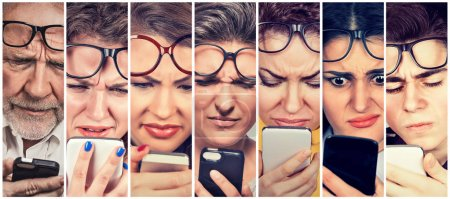 Group of people men and women with glasses having trouble seeing cell phone