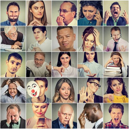 Photo for Multiethnic group of negative frustrated, sad, desperate, stressed people - Royalty Free Image