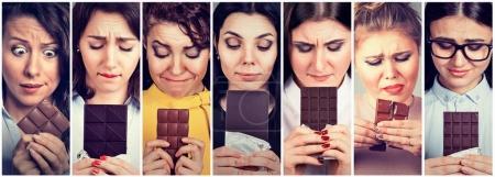Photo pour Les femmes fatiguées des restrictions alimentaires ont envie de bonbons au chocolat. Émotion d'expression du visage humain. Sentiments de guil - image libre de droit
