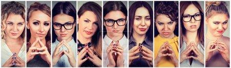 Photo pour Collage d'une femme rusée complotant quelque chose. Émotions humaines négatives, expressions faciales, sentiments, attitude - image libre de droit