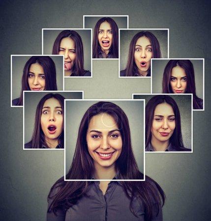 Foto de Retrato de una mujer enmascarada feliz expresando diferentes emociones - Imagen libre de derechos