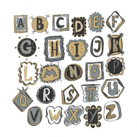 Illustration pour Alphabet gribouillé coloré dessiné à la main. illustration vectorielle de style enfantin - image libre de droit