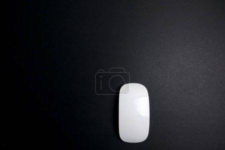 Photo pour Souris blanche sur fond noir . - image libre de droit
