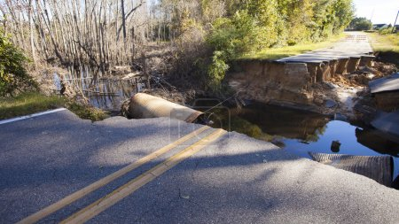 Road closed after Hurricane Matthew