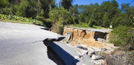 Road damage after Hurricane Matthew