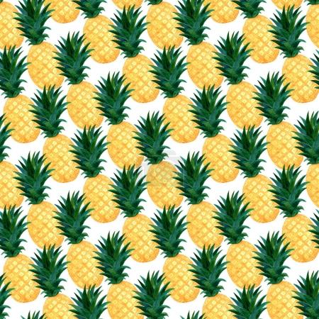 Photo for Watercolor pineapples seamless pattern. Summer wallpaper design - Royalty Free Image