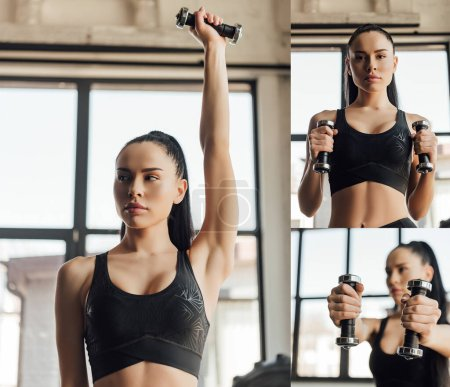 Photo for Collage of sportswoman training with dumbbells in gym - Royalty Free Image