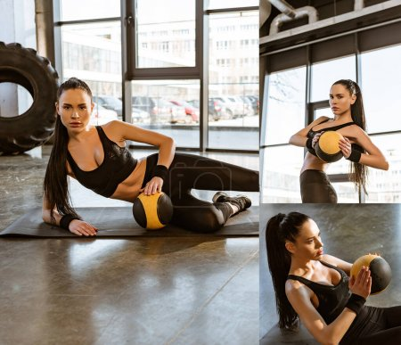 Photo for Collage of attractive sportswoman training with ball on fitness mat in gym - Royalty Free Image