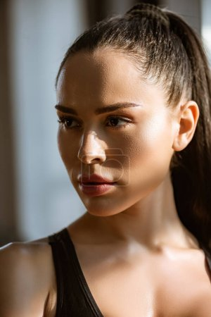Photo for Portrait of beautiful brunette european woman looking away - Royalty Free Image