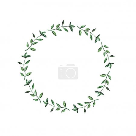 Photo for Wreath with green basil branches isolated on white background - Royalty Free Image