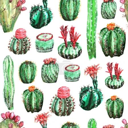 Photo for Seamless pattern with colorful cacti with flowers - Royalty Free Image