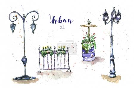 street lights and flower pots.
