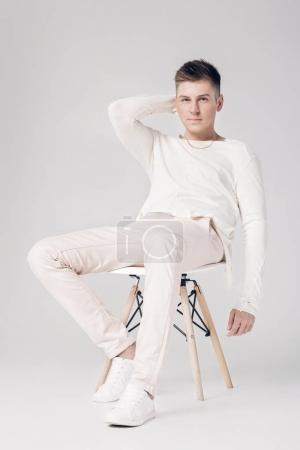 handsome young man on a white background