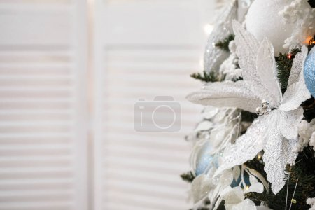 Photo for White and silver xmas background with copy space. Merry christmas. - Royalty Free Image