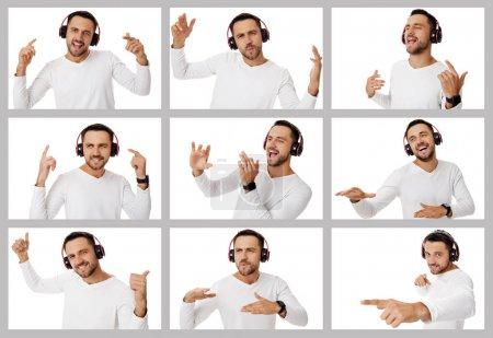 Photo pour Collage de portraits d'homme barbu beau avec différentes émotions positives et négatives sur fond beige - image libre de droit