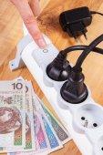 Elektrické energie pruh s připojeným konektorem a polština měna (peníze), náklady na energii