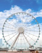 Giant Ferris Wheel in Hong Kong Overlooking Victoria Harbor