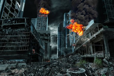 Photo for Detailed destruction of fictitious city with fires, explosions, debris and collapsing structures. Concept of war, natural disasters, judgment day, fire, nuclear accident or terrorism. - Royalty Free Image