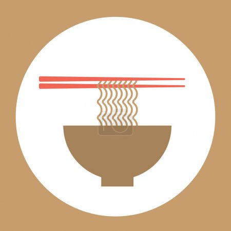 Illustration pour Bol à nouilles avec baguettes Bannière élégante pour l'industrie alimentaire Illustration vectorielle - image libre de droit